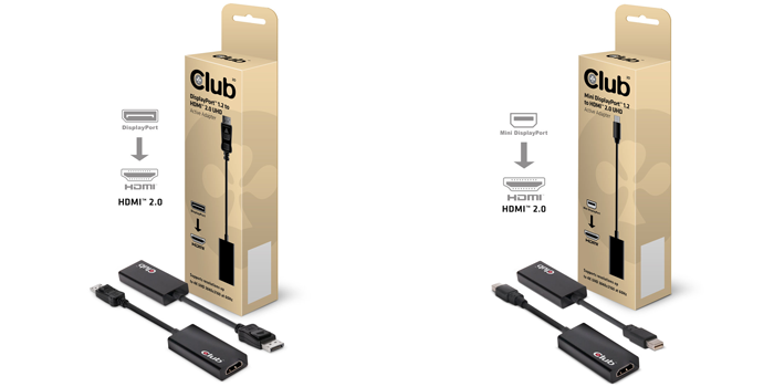 Club 3D: Aktive HDMI 2.0 DisplayPort-Adapter für Ultra HD mit 60 Hz