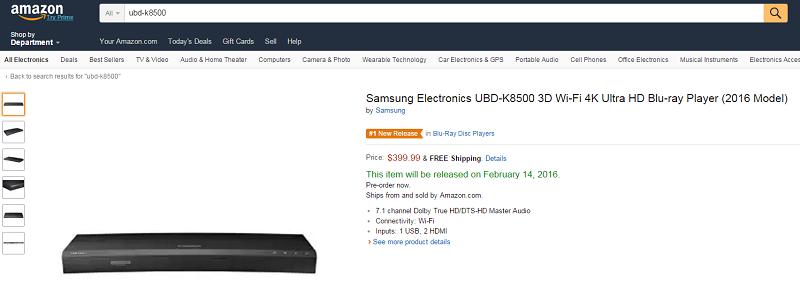 Samsung UBD-K8500 Ultra HD Blu-ray Player Preis und Releasedatum veröffentlicht